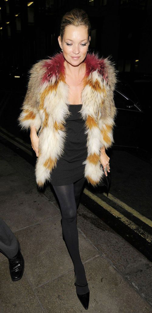 kate moss black dress tights isabel marant fur coat