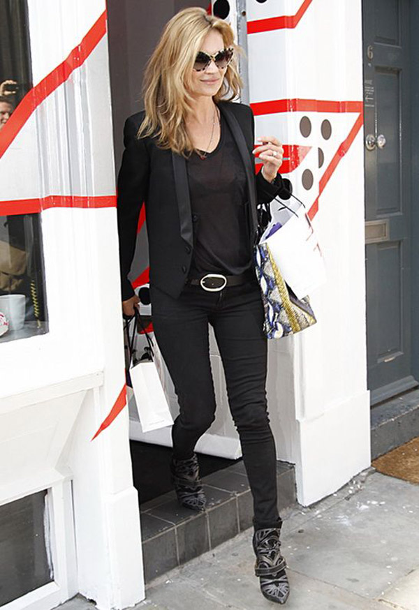 kate moss black jeans embroidered boots tuxedo jacket