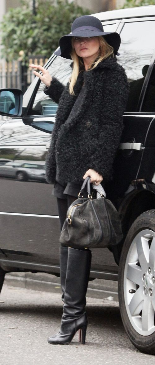kate moss black pants fur coat bag hat knee high boots