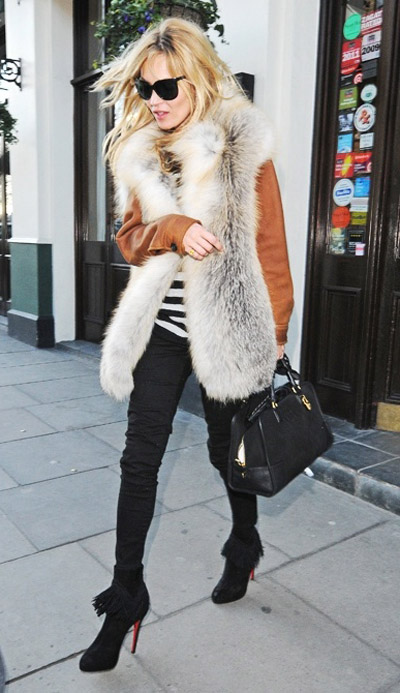 kate moss black pants fur vest striped tee silk sleeves booties