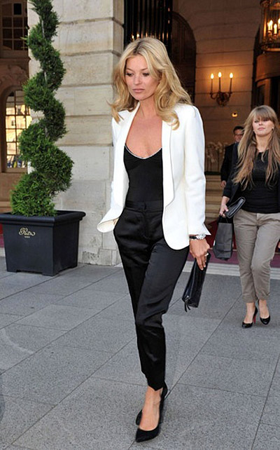 kate moss black satin pants blouse ivory blazer