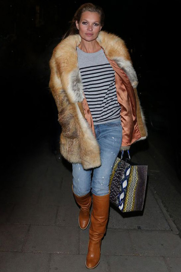 kate moss blue jeans cognac leather knee high boots striped sweater fur