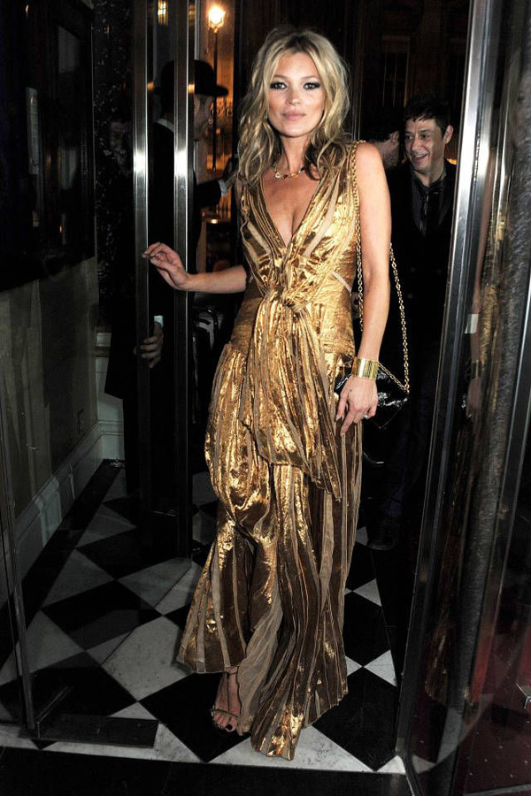 kate moss gold lame dress