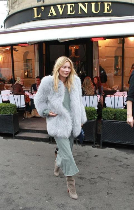 kate moss green maxi dress gray suede boots fur coat