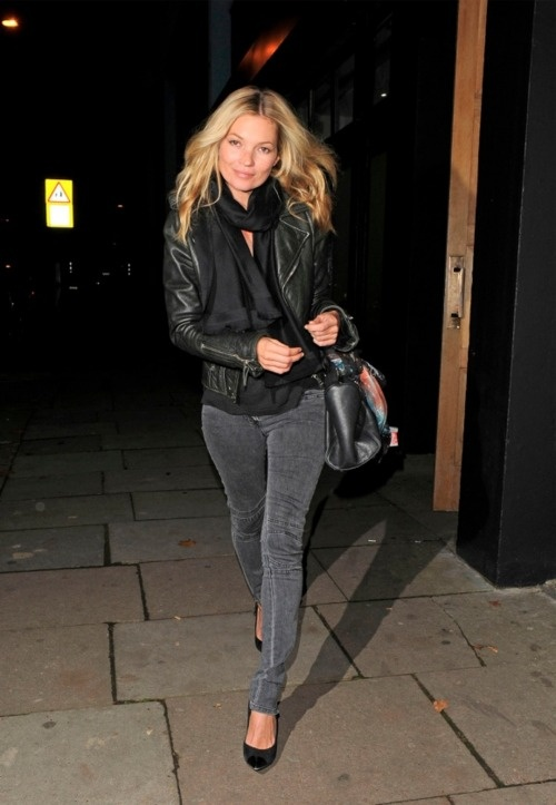 kate moss street style black leather jacket scarf gray moto jeans heels
