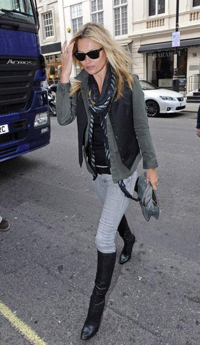 kate moss street style black vest cargo shirt gray jeans knee high boots