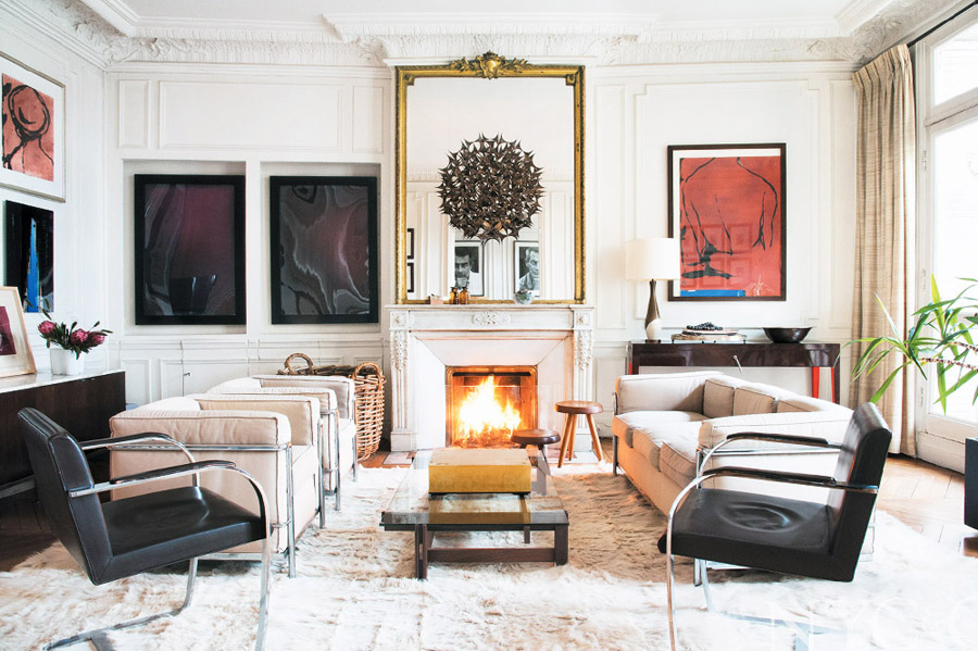 paris living room. photographer apt in paris Stephane Kossmann living room fireplace Mies  chairs Brno art soft white COLLECTED PARISIAN Vintage Luxury Erika Brechtel