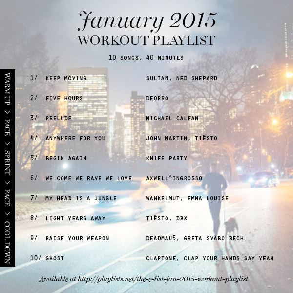 workout playlist January 2015 Erika Brechtel