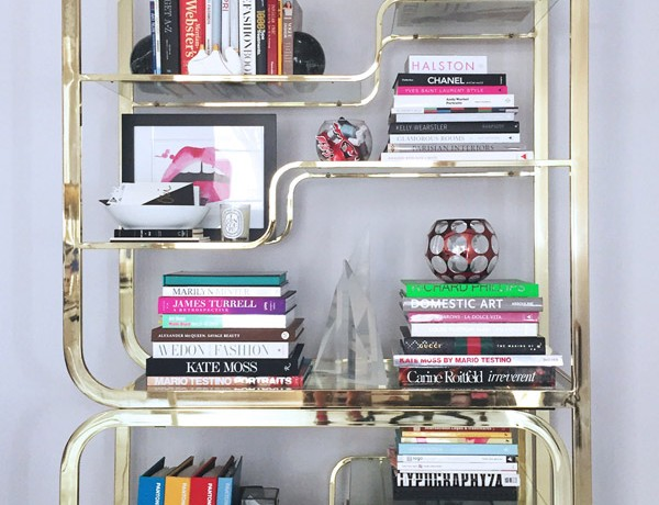 Erika Brechtel brass etagere design books library