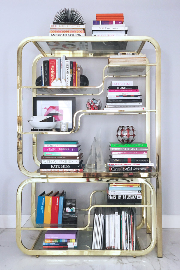 How to style a bookcase erika brechtel erika brechtel brass etagere design books library solutioingenieria Image collections