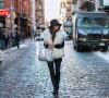 NYFW FW15 street style Erika Brechtel feather fedora ivory fur vest leather jacket Alexander Wang silver Rocco black boots