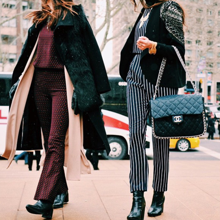 NYFW FW15 street style bfa_nyc 70s jumpsuits vest layered coats fur Chanel bag black boots
