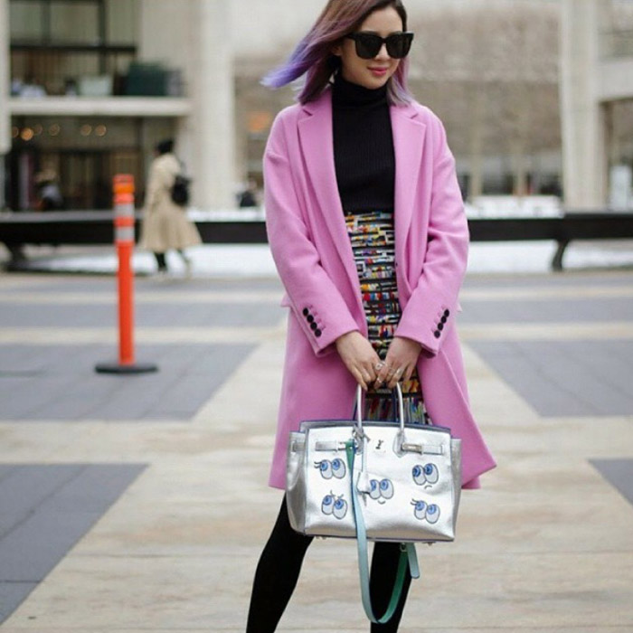NYFW FW15 street style ireneisluv pink coat black dress silver bag