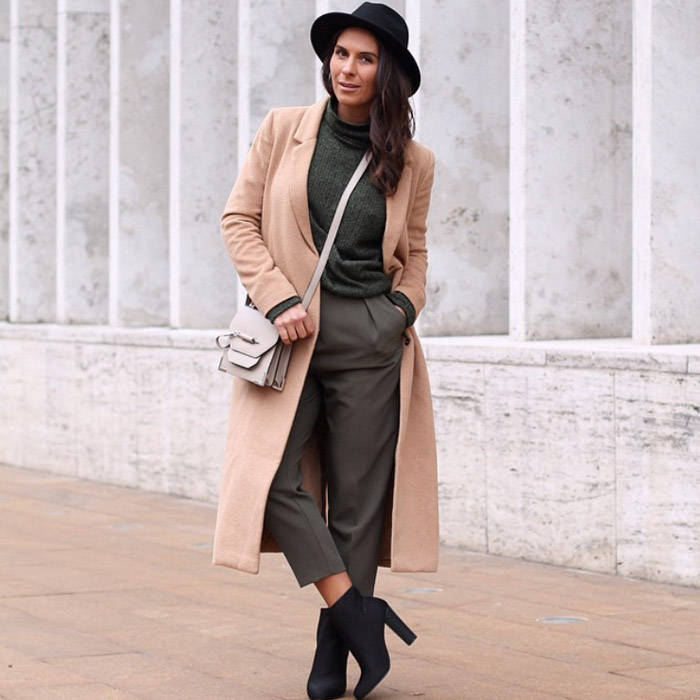 NYFW FW15 street style juliamateian camel coat olive crop pants black booties hat