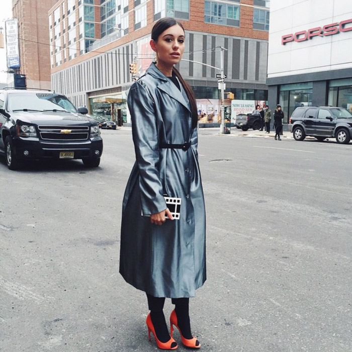 NYFW FW15 street style marta_pozzan metallic charcoal coat black tights orange peep toes heels