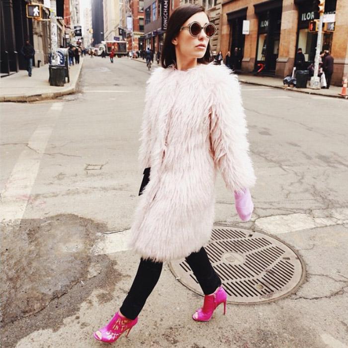 NYFW FW15 street style marta_pozzan pink fur coat fuchsia booties