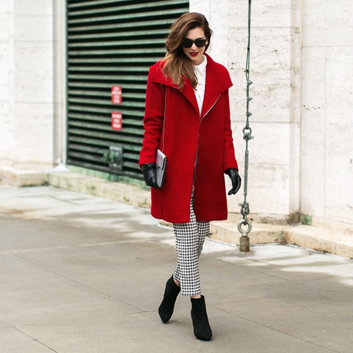 NYFW FW15 street style nicoleciotti checkered pants red coat