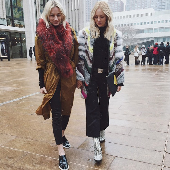 NYFW FW15 street style peaceloveshea fur wrap coat trenchcoat black white speckled boots
