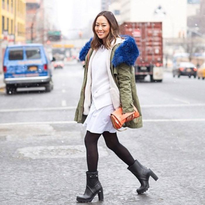 NYFW FW15 street style songofstyle Aimee Song black tights boots cargo coat blue fur collar white dress ivory sweater orange clutch
