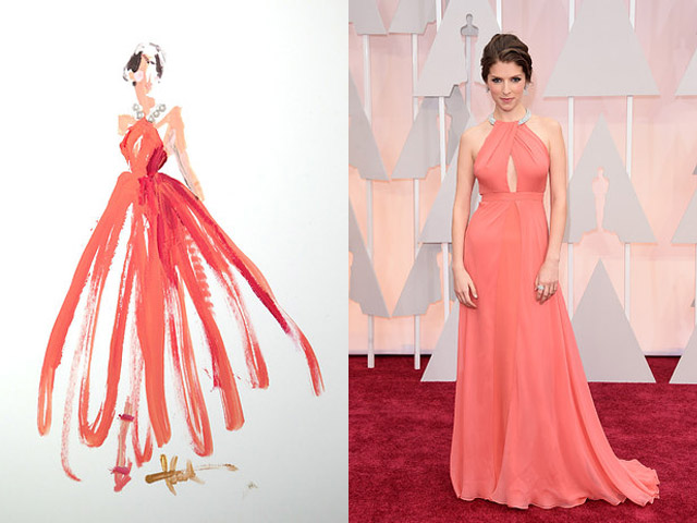 Paper Fashion Katie Rogers Oscars 2015 Q-tips illustration Anna Kendrick Thakoon dress