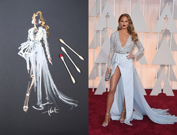 Paper Fashion Katie Rogers Oscars 2015 Q-tips illustration Chrissy Teigen Zuhair Murad dress