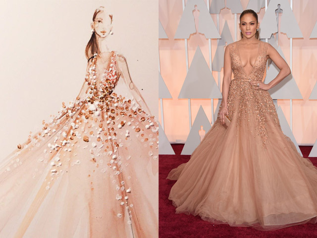 Paper Fashion Katie Rogers Oscars 2015 Q-tips illustration Jennifer Lopez Elie Saab dress