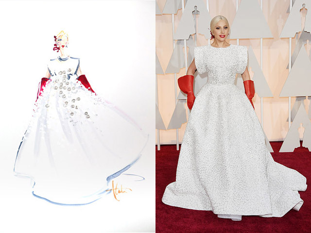 Paper Fashion Katie Rogers Oscars 2015 Q-tips illustration Lady Gaga in Azzedine Alaia