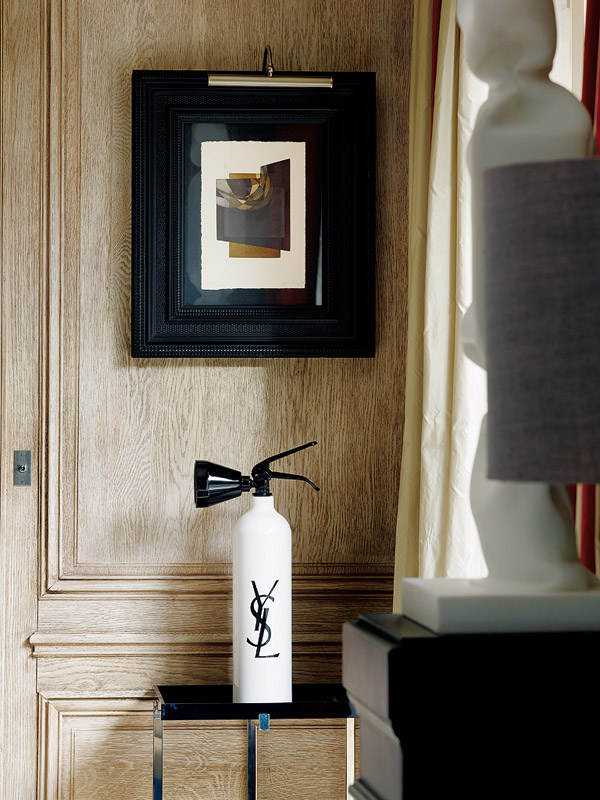 Paris pop art apt living room traditional wall paneling YSL extinguisher by Nicolas Castello