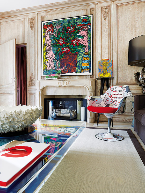 Pop art apt in paris erika brechtel - Traditional contemporary living room ...