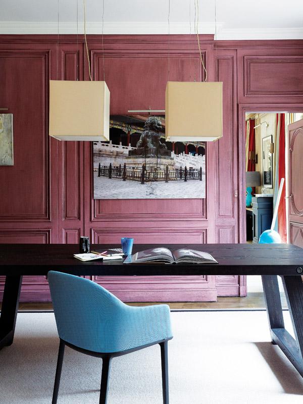 Paris pop art apt office study plum painted paneled walls Liu Bolin photograph blue Vitra chair