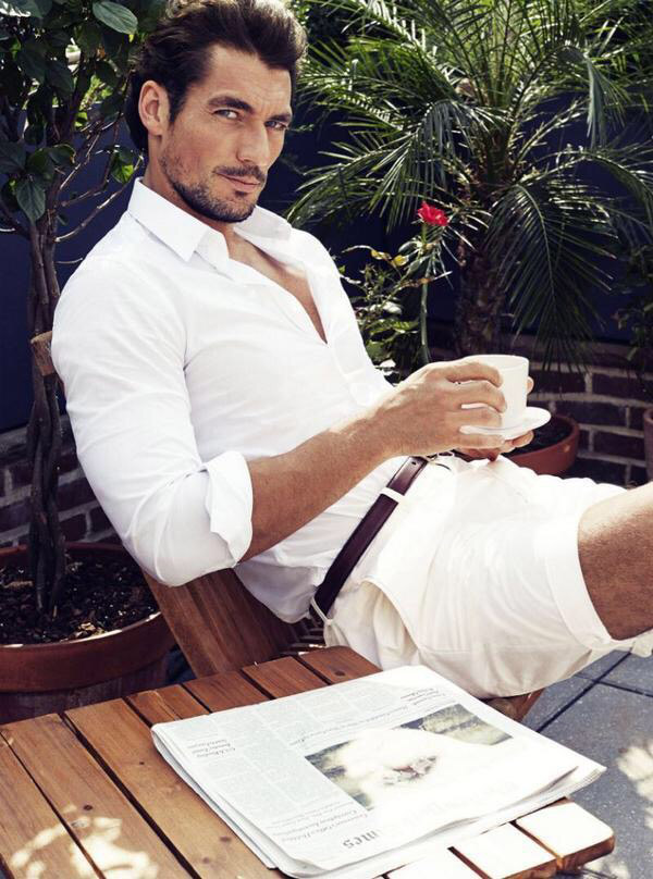 David Gandy morning coffee pic by Victor Demarchelier