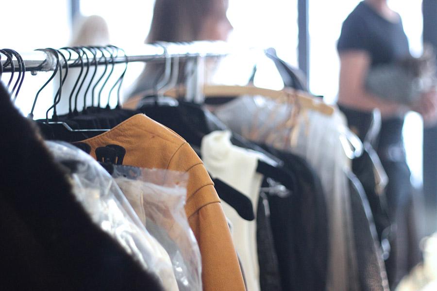 Erika Brechtel BTS HOTR NYC shoot Paolo Corona collection rack