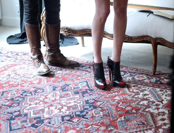 Erika Brechtel BTS HOTR NYC shoot boots