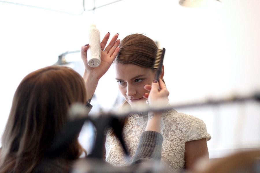 Erika Brechtel BTS HOTR NYC shoot hair makeup by Inspirera
