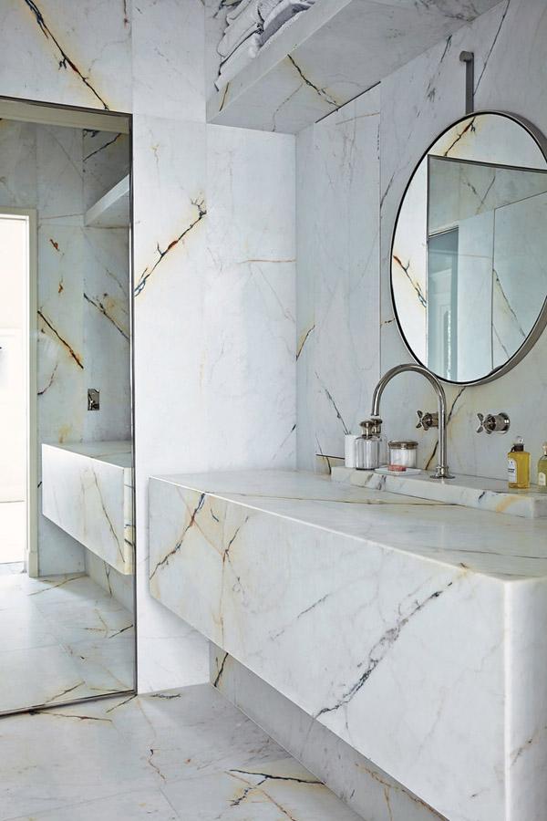 Joseph Dirand Parisian minimalist apt bathroom marble sink floor wall
