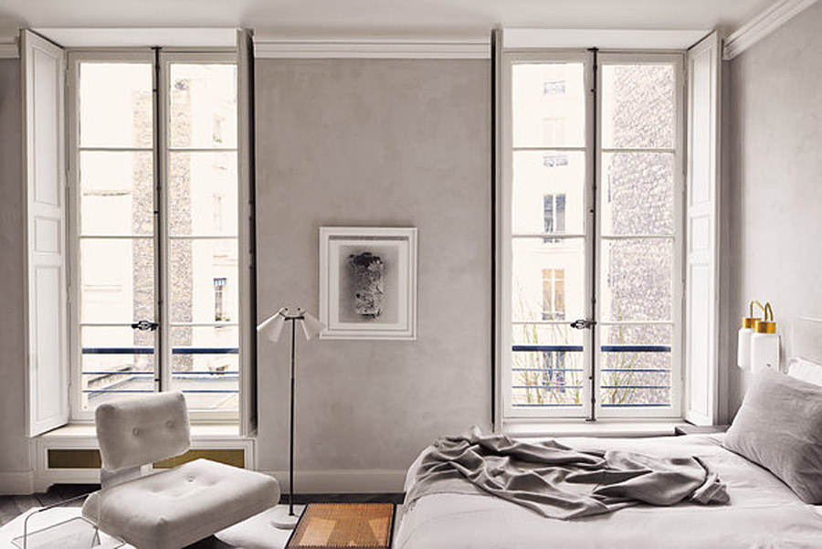 Joseph Dirand Parisian Minimalist Apt Bedroom Stucco Walls