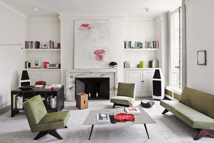 Joseph Dirand Parisian minimalist apt living room Le Corbusier vintage Pierre Jeanneret painting by Lawrence Carroll