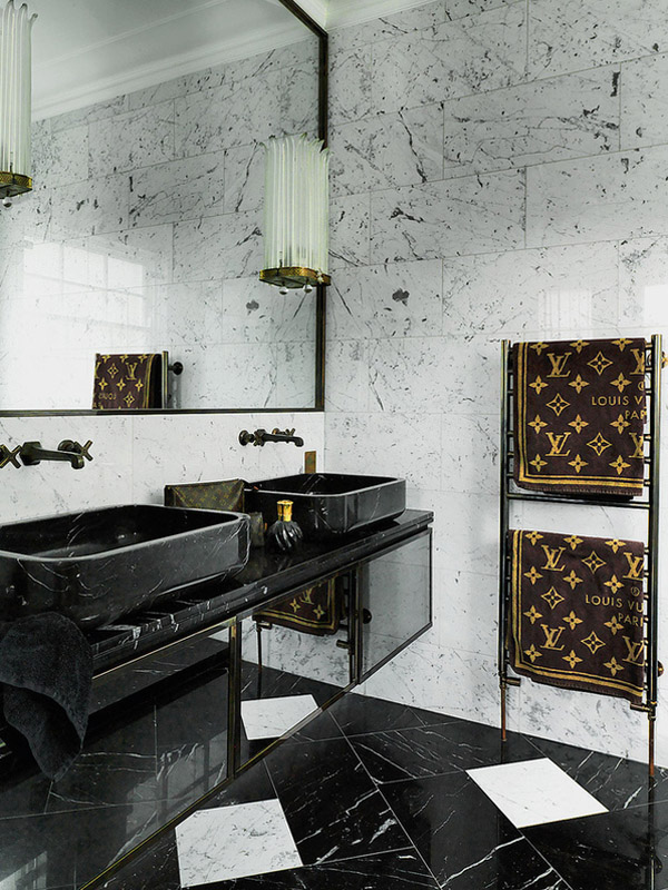 London townhome Colin Radcliffe bathroom black granite white marble Louis Vuitton towels