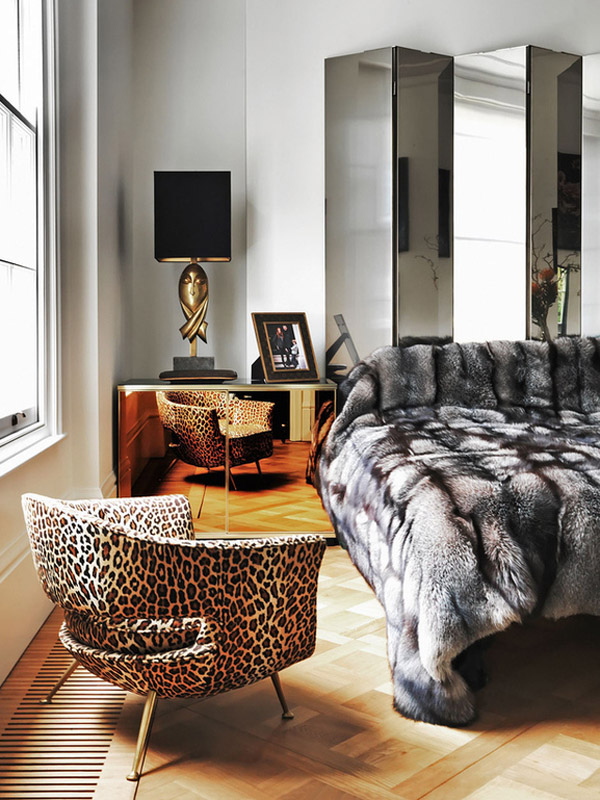 London townhome Colin Radcliffe bedroom black white brass mirrored fur leopard