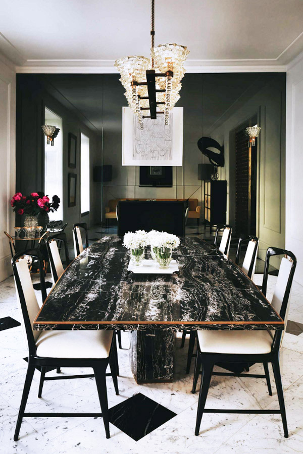 London townhome Colin Radcliffe dining room black marble table deco chairs
