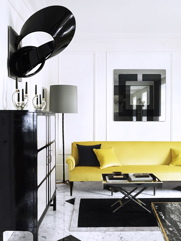 London townhome Colin Radcliffe yellow sofa bar cabinet sculpture 1960s Pierre Cardin mirror