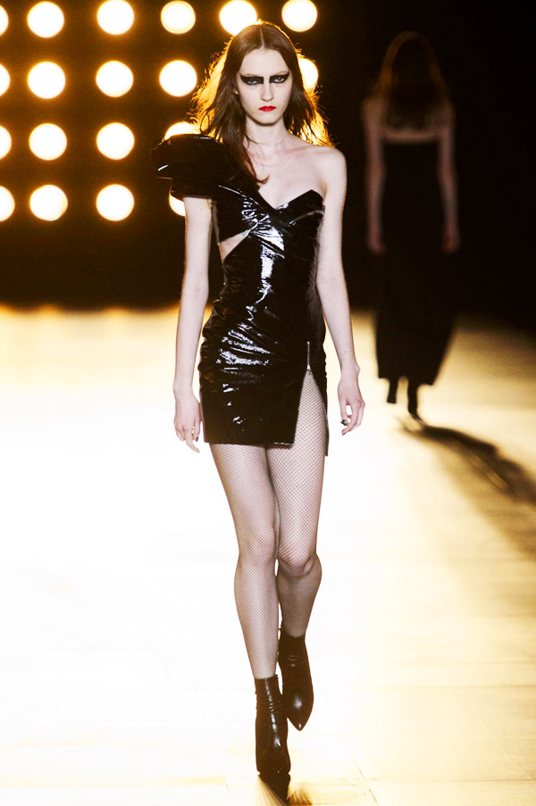 Saint Laurent Hedi Slimane FW15 black patent one shoulder dress