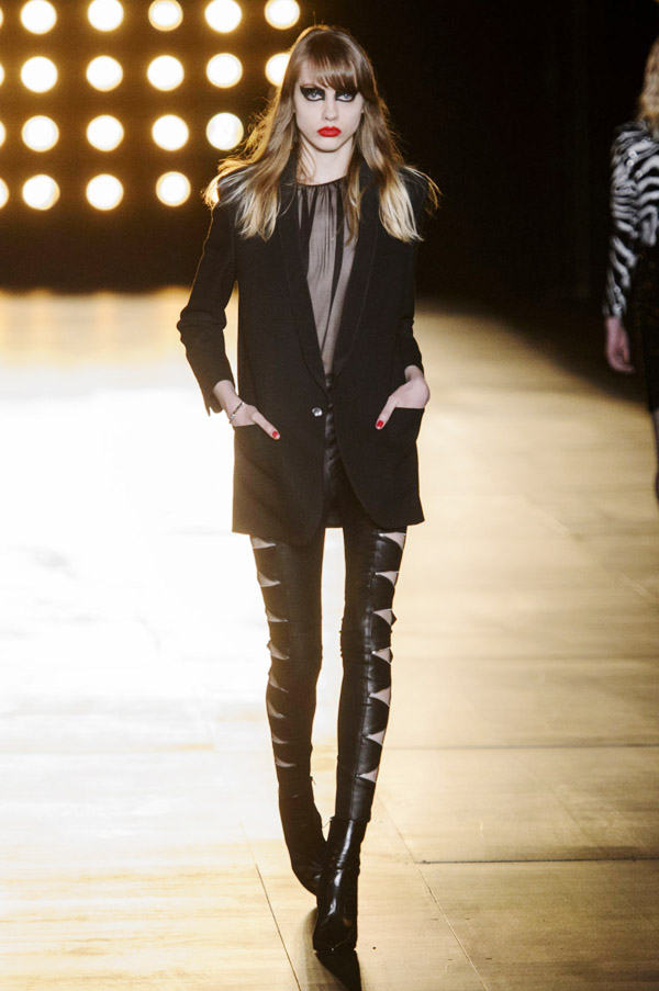 Saint Laurent Hedi Slimane FW15 black sheer dress cut out leggings