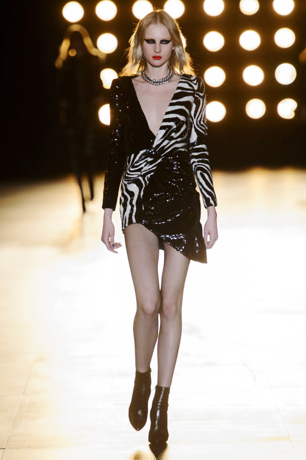 Saint Laurent Hedi Slimane FW15 black white zebra sequin dress