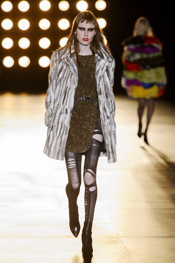 Saint Laurent Hedi Slimane FW15 gold dress fur coat