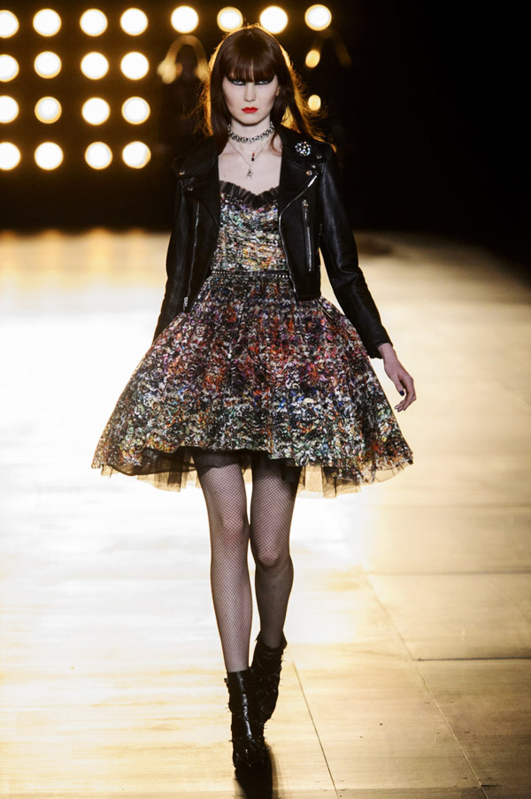 Saint Laurent Hedi Slimane FW15 multicolor tuille dress