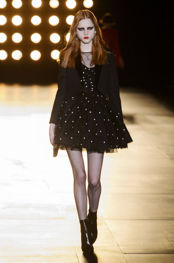 Saint Laurent Hedi Slimane FW15 polka dot dress black jacket