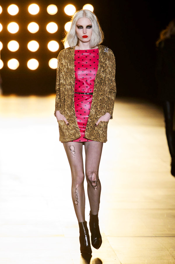 Saint Laurent Hedi Slimane FW15 red black polka dot dress leopard coat