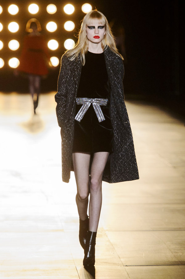 Saint Laurent Hedi Slimane FW15 silver bow dress wool coat