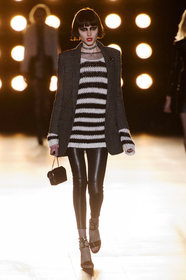 Saint Laurent Hedi Slimane FW15 striped sweater tweed jacket leather leggings